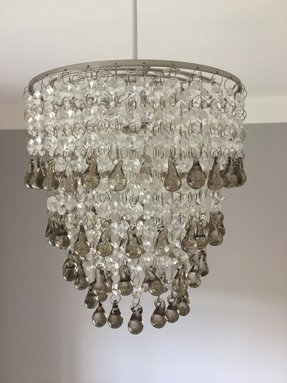 Newest Sinead 4 Light Chandeliers With Regard To Laura Ashley 'Carmen' Easy Fit Chandelier / Pendant With Smoked Glass  Droplets (View 16 of 25)