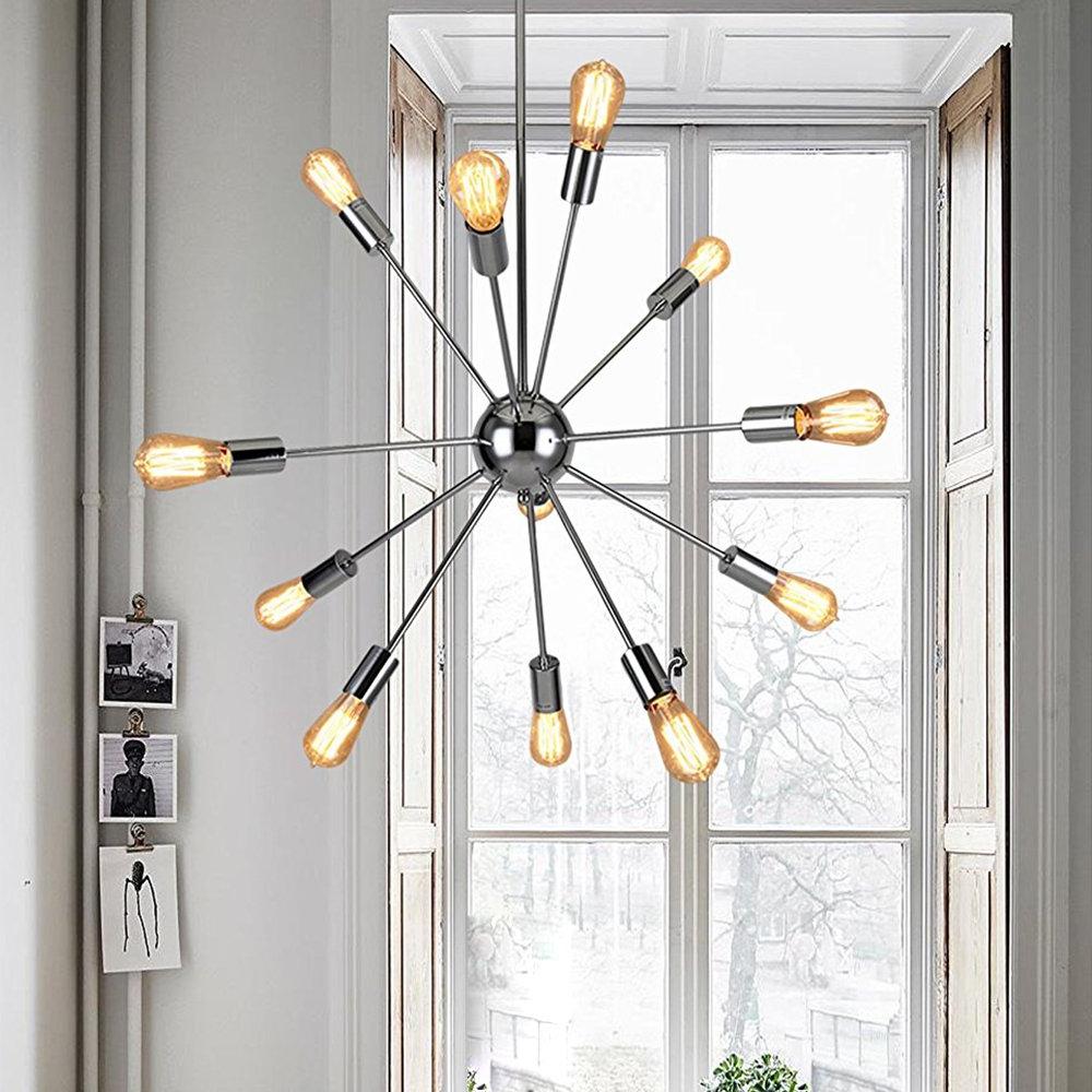 Newest Sputnik Chandeliers 12 Lights Modern Pendant Lighting Chrome Finished  Ceiling Light Fixture, Ul Listed With Regard To Asher 12 Light Sputnik Chandeliers (View 6 of 25)