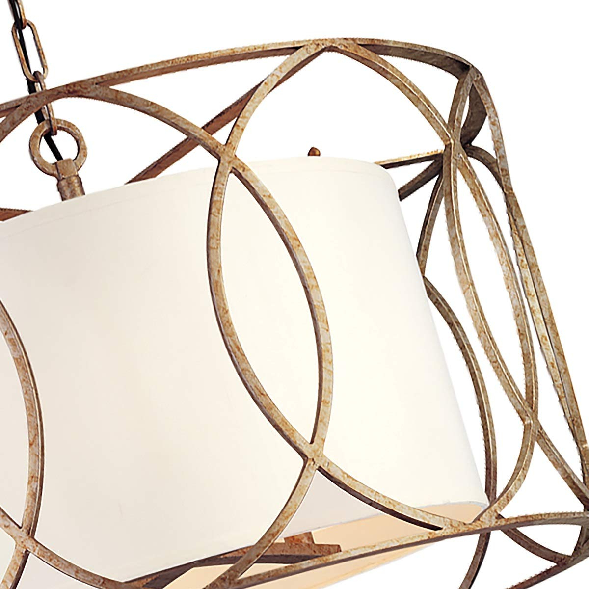 Newest Troy Lighting Sausalito 5-Light Chandelier - Silver Gold Finish With  Hardback Linen Shade within Balducci 5-Light Pendants