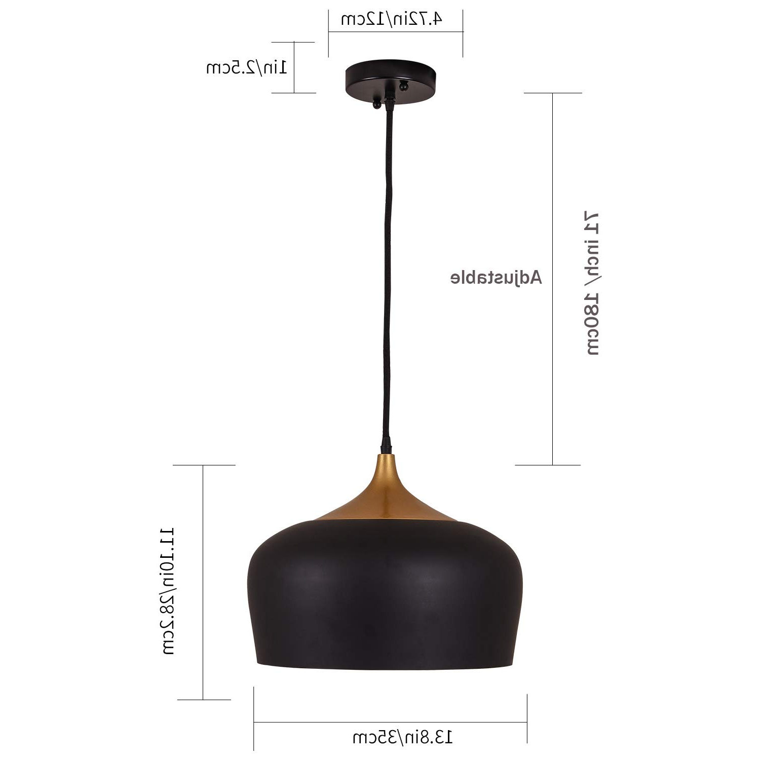 Ninette 1-Light Dome Pendants pertaining to Well-known Metal Pendant Light,hhome Plus 1 Light Dome Pendant Lamp, Black Braided  Cable Chandelier, With Led Bulb