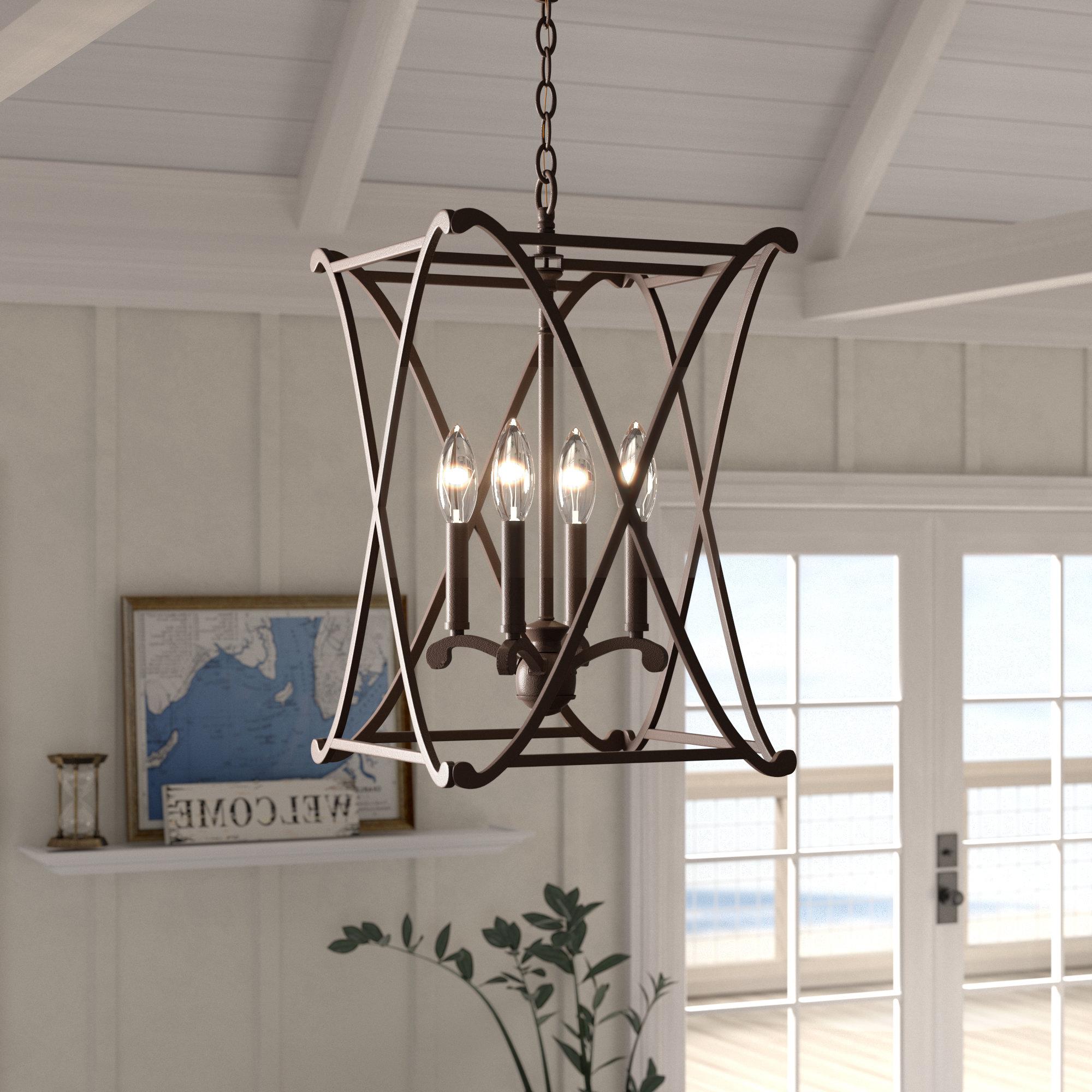 Nisbet 4-Light Lantern Geometric Pendant intended for Fashionable Taya 4-Light Lantern Square Pendants