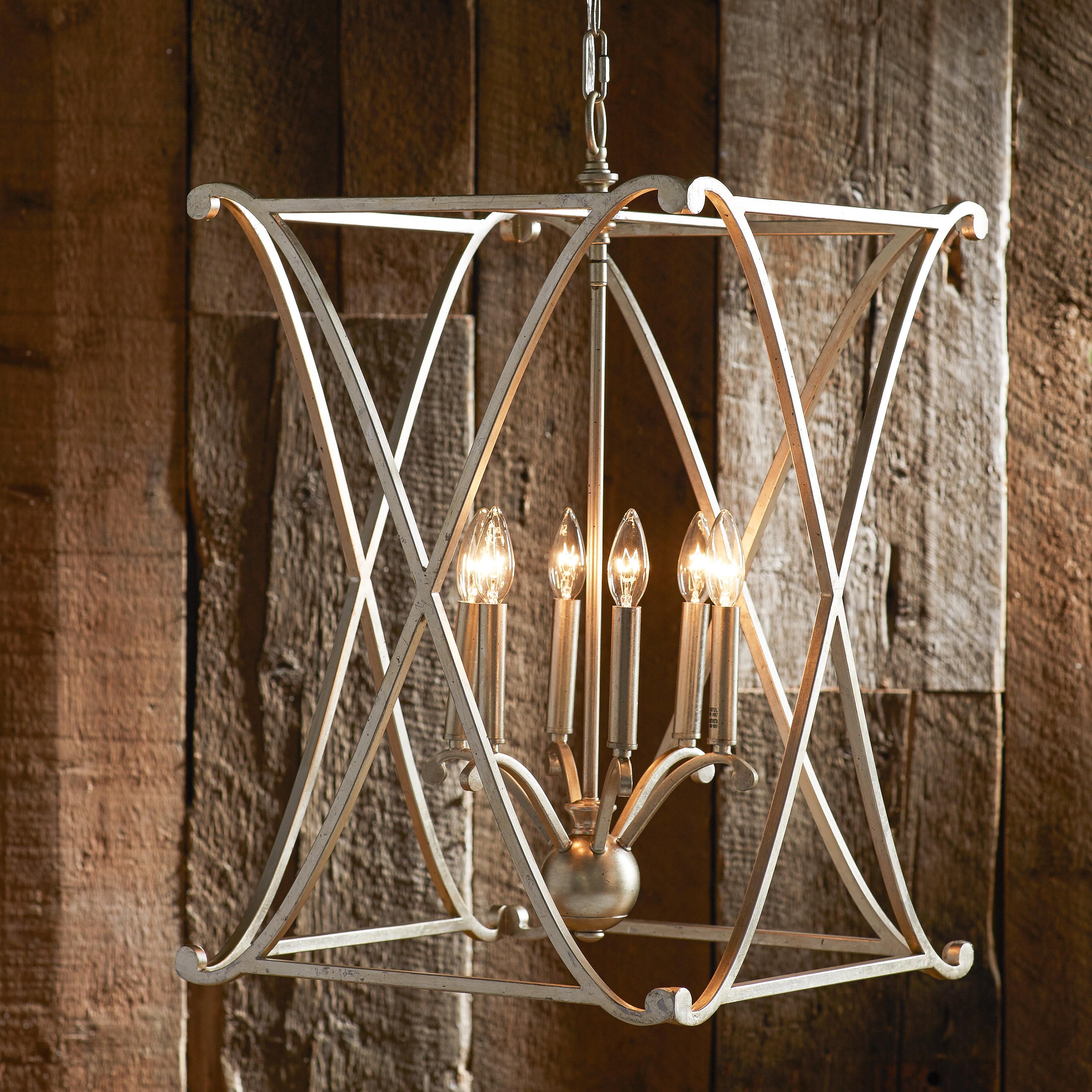 Nisbet 4-Light Lantern Geometric Pendant throughout Popular Nisbet 6-Light Lantern Geometric Pendants