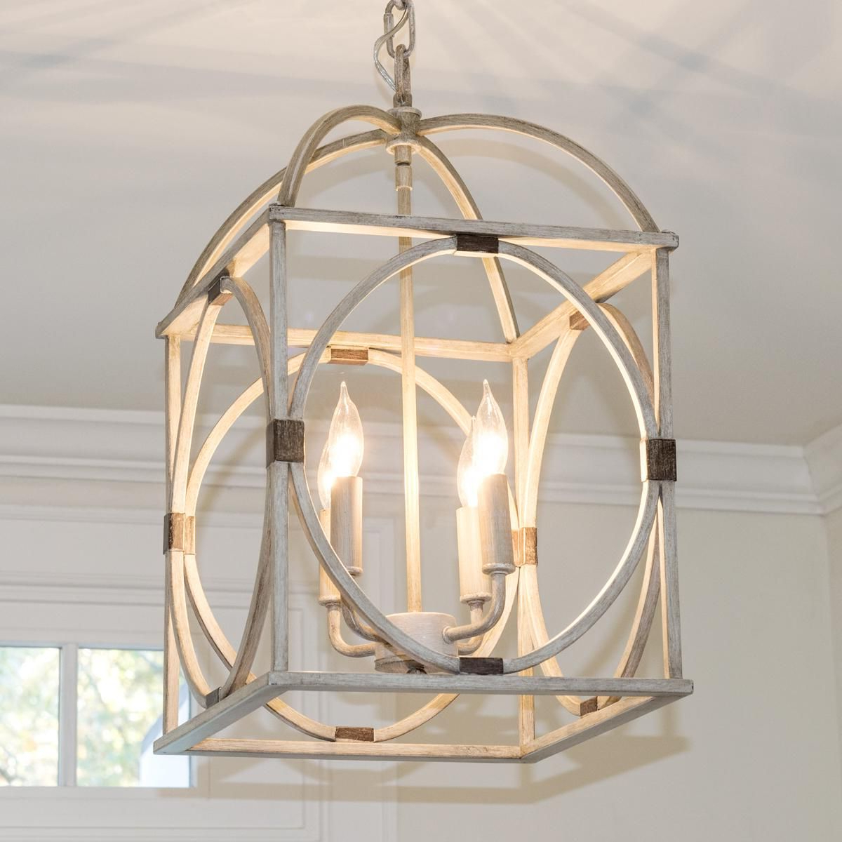 Nisbet 4 Light Lantern Geometric Pendants Throughout Best And Newest Circle Lattice Hanging Lantern – 4 Light (View 9 of 25)