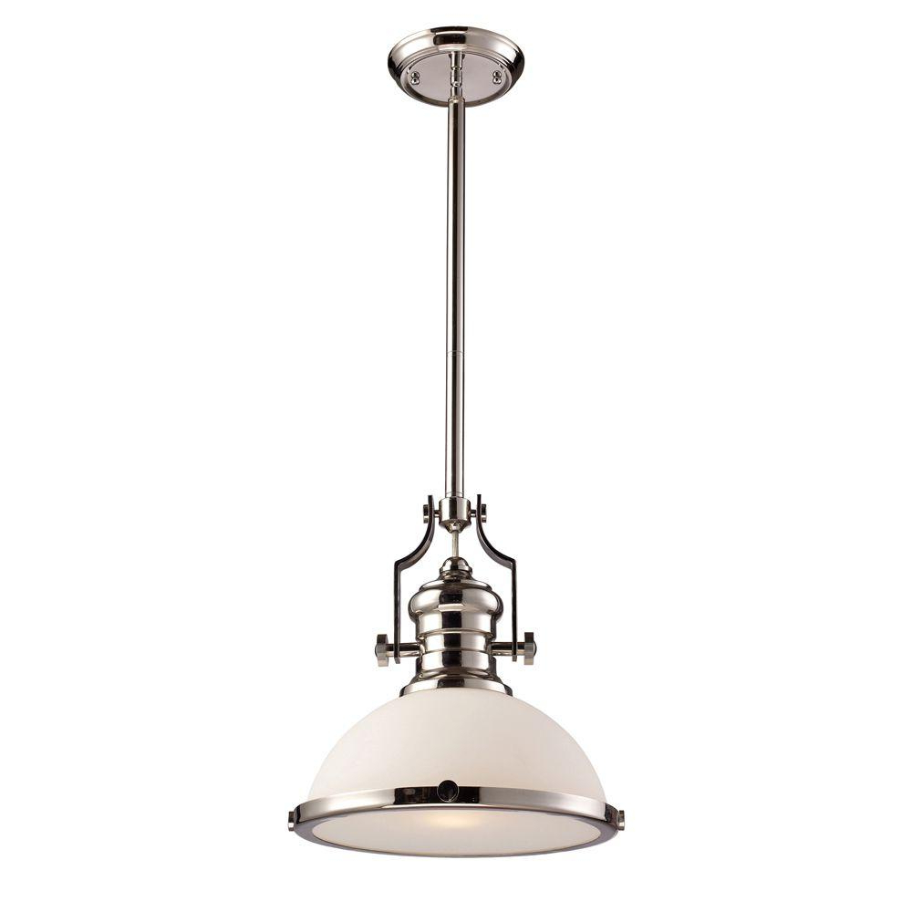 Nolan 1-Light Single Cylinder Pendants with regard to Latest Titan Lighting Chadwick 1-Light Polished Nickel Ceiling Mount Pendant