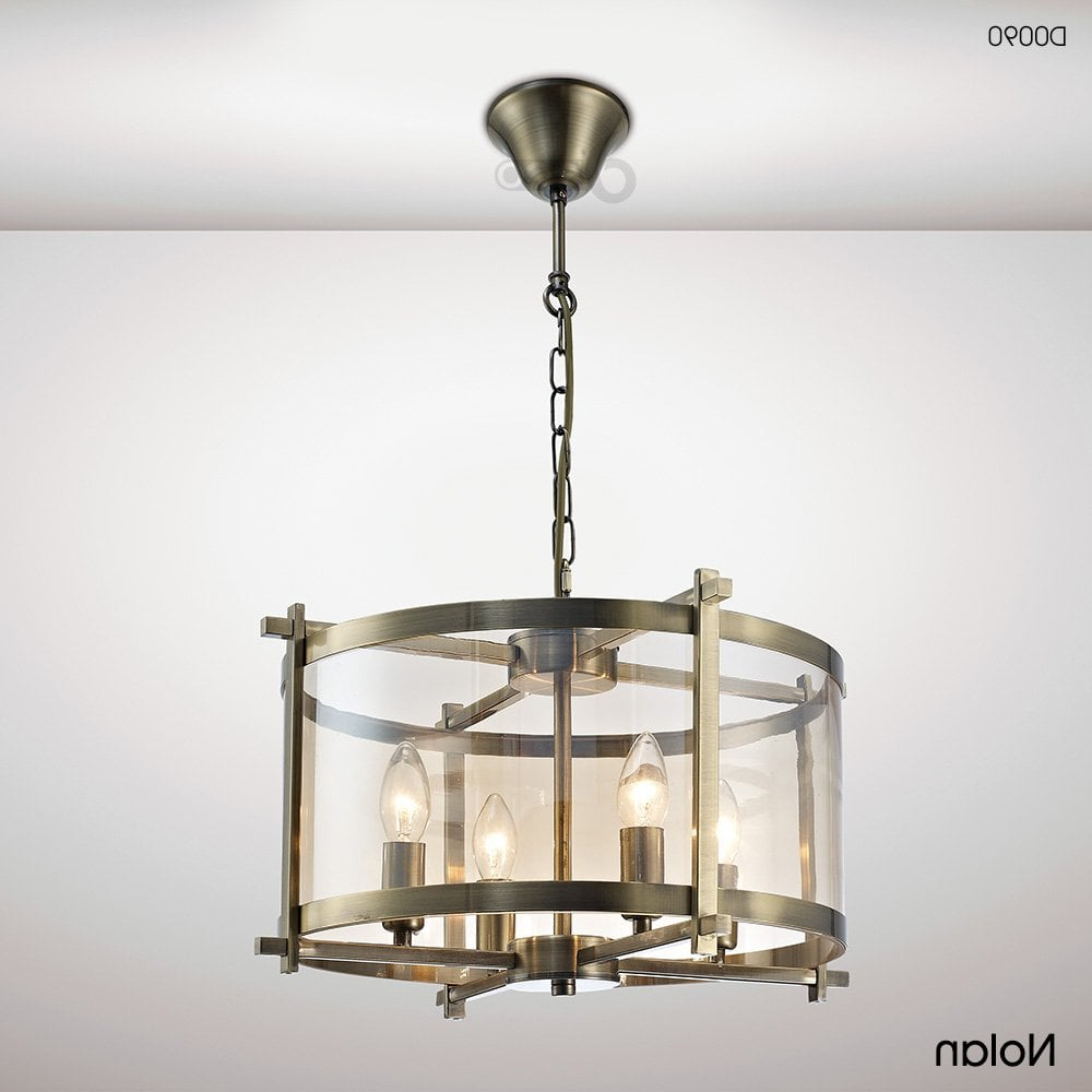 Nolan Lantern 4 Light Medium Ceiling Pendant In Antique Brass Finish With  Amber Glass within Preferred Nolan 1-Light Lantern Chandeliers