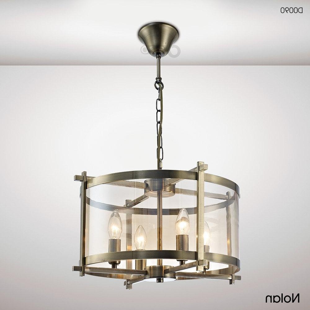 Nolan Lantern 4 Light Medium Ceiling Pendant In Antique Brass Finish With  Amber Glass Within Preferred Nolan 1 Light Lantern Chandeliers (View 16 of 25)