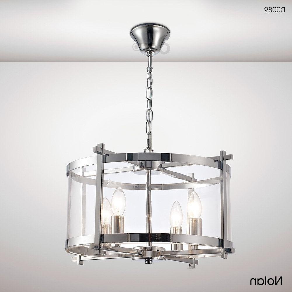 Nolan Lantern 4 Light Medium Ceiling Pendant In Polished Chrome Finish With  Clear Glass In Well Liked Nolan 1 Light Lantern Chandeliers (View 17 of 25)