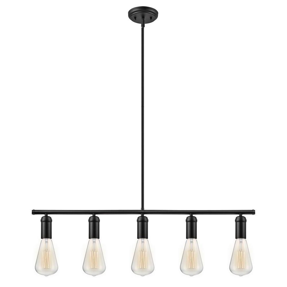 Novogratz Vintage 5 Light Kitchen Island Bulb Pendants Inside Most Recently Released Globe Electric Chromeo 5 Light Matte Black Linear Pendant (View 16 of 25)
