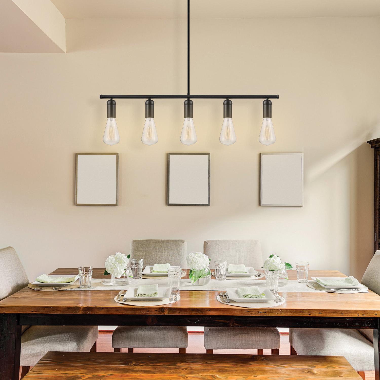 Novogratz Vintage 5-Light Kitchen Island Bulb Pendants with Newest Novogratz Vintage 5-Light Kitchen Island Bulb Pendant