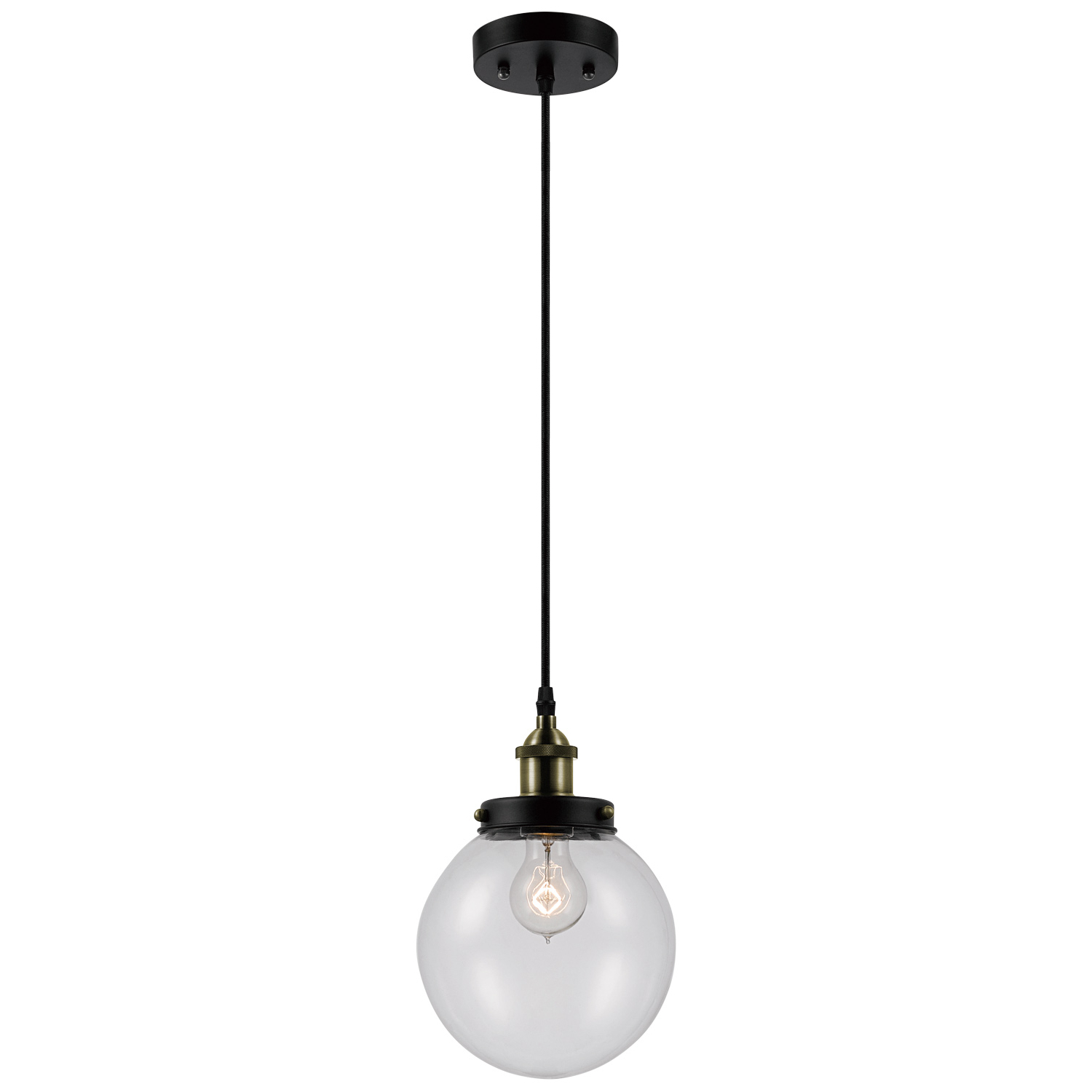 Novogratz Vintage 5 Light Kitchen Island Bulb Pendants With Preferred Novogratz X Globe Electric Daario 1 Light Bronze & Antique Brass Detail  Pendant With Clear Glass Shade, (View 16 of 25)