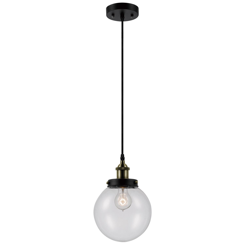 Novogratz Vintage 5 Light Kitchen Island Bulb Pendants With Preferred Novogratz X Globe Electric Daario 1 Light Bronze & Antique Brass Detail  Pendant With Clear Glass Shade, (View 18 of 25)