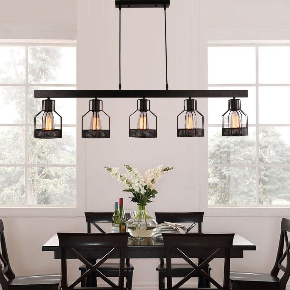 Novogratz Vintage 5 Light Kitchen Island Bulb Pendants With Recent Karson Metal Linear Pendant, Antique Black (View 19 of 25)
