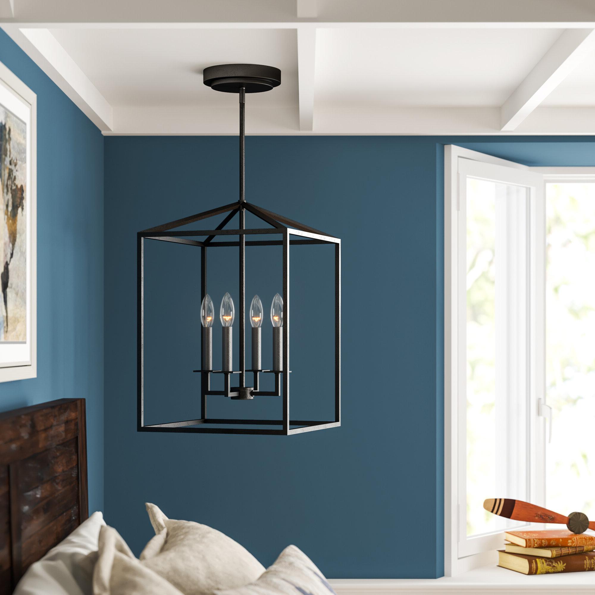Odie 4 Light Lantern Square/rectangle Pendant In Well Liked Varnum 4 Light Lantern Pendants (View 11 of 25)