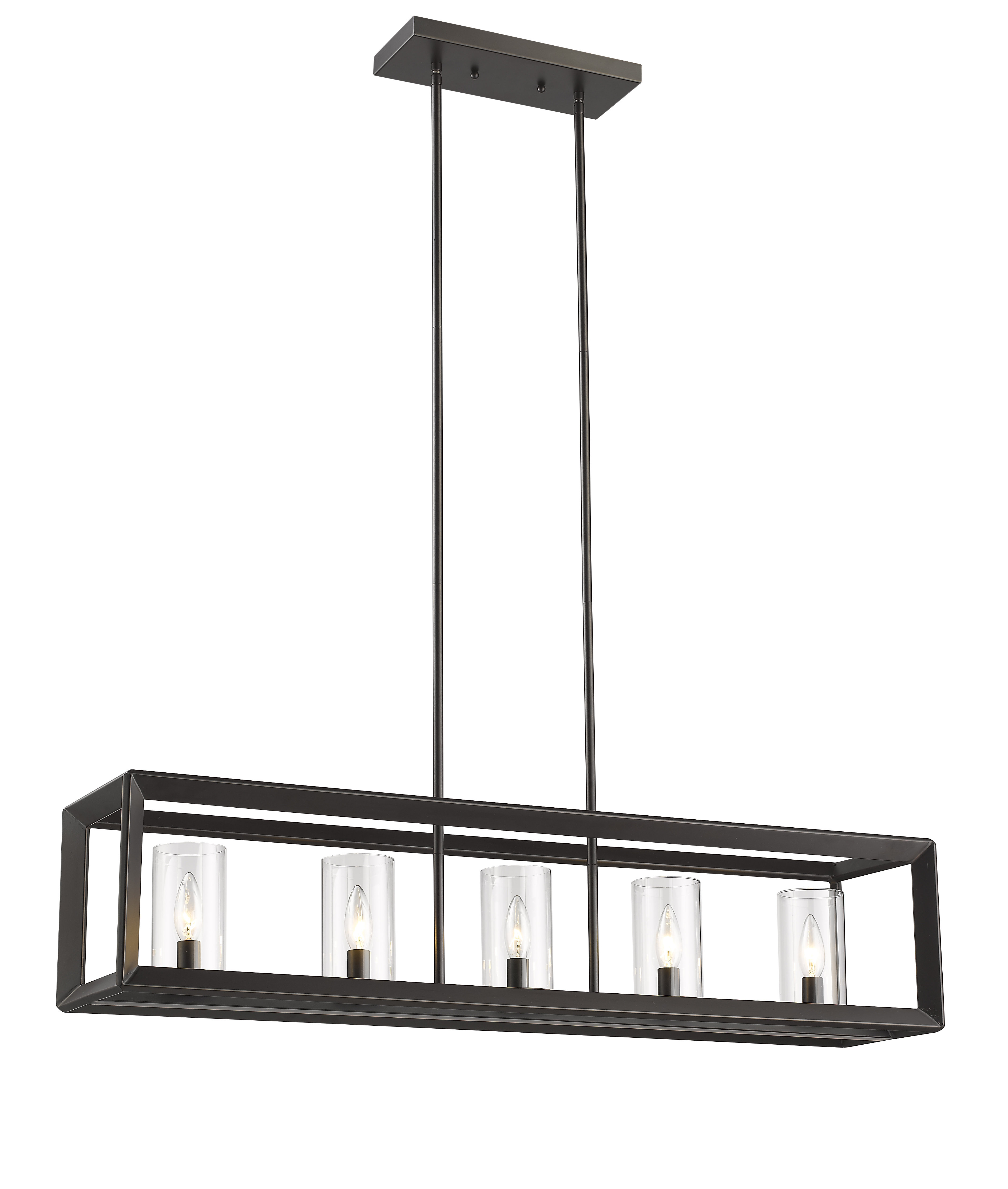 Odie 8 Light Kitchen Island Square / Rectangle Pendants Pertaining To Most Up To Date Vandoren Canyon 5 Light Kitchen Island Linear Pendant (View 17 of 25)