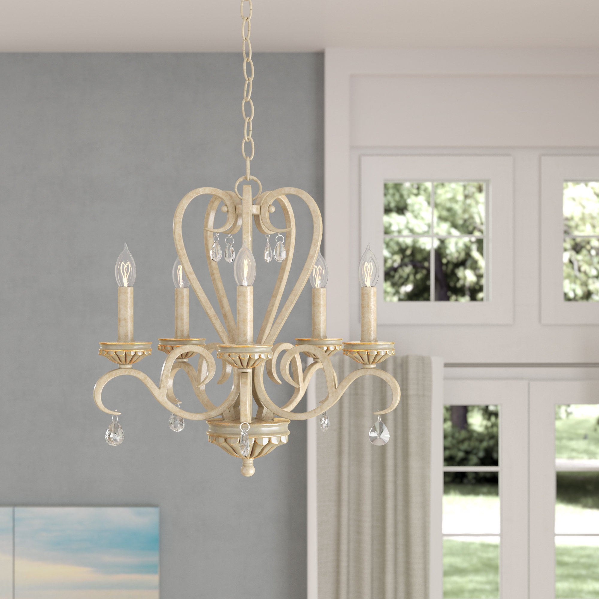 Oriana 4 Light Single Geometric Chandeliers Pertaining To 2020 Khaled 5 Light Candle Style Chandelier (View 18 of 25)