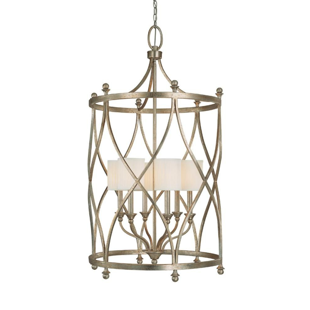 Oriana 4 Light Single Geometric Chandeliers Throughout Recent Six Light Gold Open Frame Foyer Hall Fixture : Sku V (View 19 of 25)