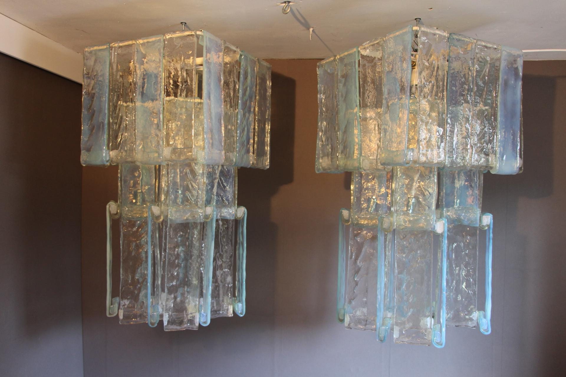 Pair Of Mid Century Modern Iridescent Laguna Model Chandeliersfratelli  Toso With Most Recently Released Albano 4 Light Crystal Chandeliers (View 19 of 25)