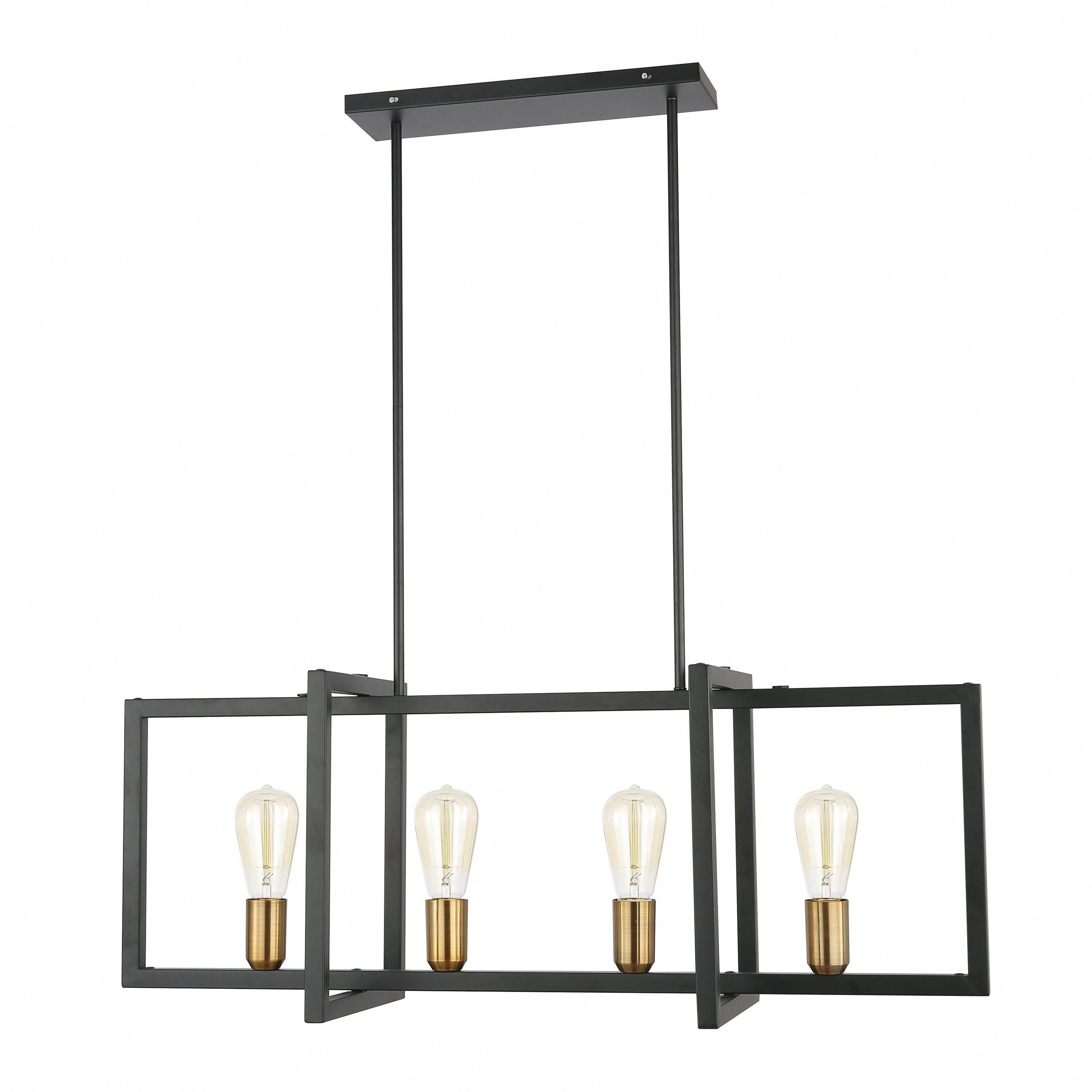 Paradigm Black And Antique Brass Four Light Kitchen Island Regarding Latest Odie 8 Light Kitchen Island Square / Rectangle Pendants (View 11 of 25)