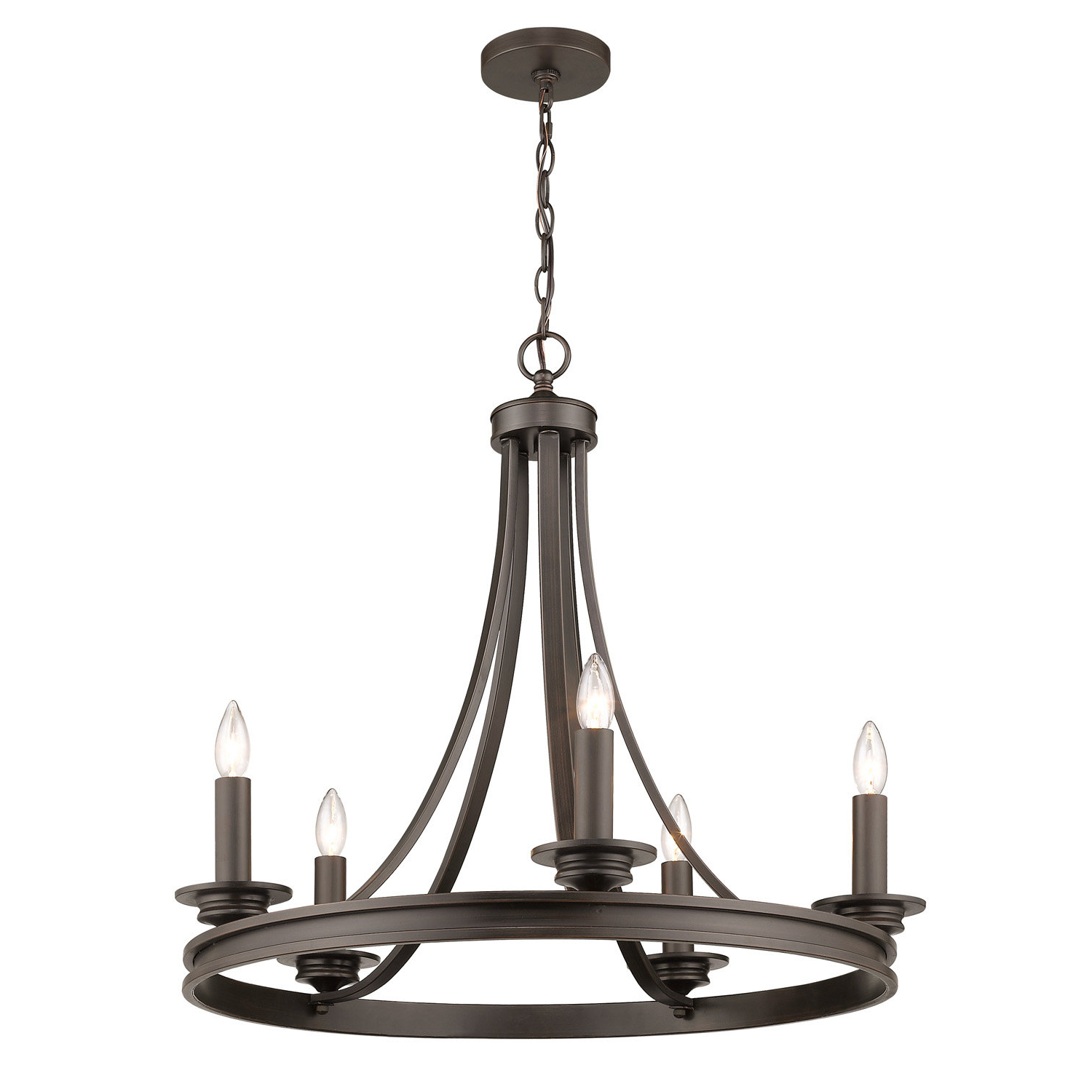 Pavon 5 Light Wagon Wheel Chandelier Intended For Preferred Janette 5 Light Wagon Wheel Chandeliers (View 8 of 25)