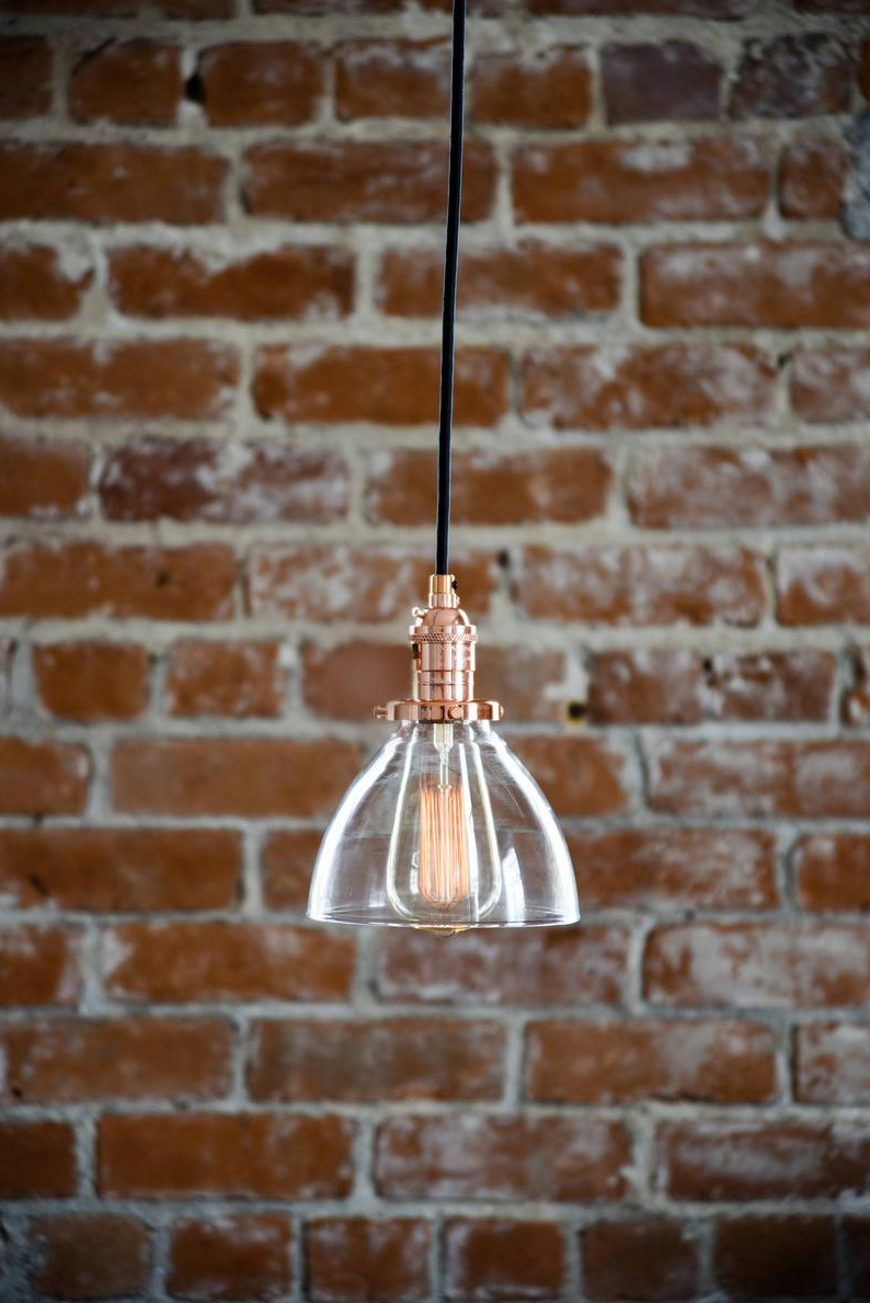 [%Pendant Light – Copper – Mid Century – Modern – Industrial – Glass Bell  Shade – Canopy Kit – Cloth Covered Wire [Oakville] With Regard To Trendy Houon 1 Light Cone Bell Pendants|Houon 1 Light Cone Bell Pendants Within Famous Pendant Light – Copper – Mid Century – Modern – Industrial – Glass Bell  Shade – Canopy Kit – Cloth Covered Wire [Oakville]|Latest Houon 1 Light Cone Bell Pendants Within Pendant Light – Copper – Mid Century – Modern – Industrial – Glass Bell  Shade – Canopy Kit – Cloth Covered Wire [Oakville]|Well Known Pendant Light – Copper – Mid Century – Modern – Industrial – Glass Bell  Shade – Canopy Kit – Cloth Covered Wire [Oakville] For Houon 1 Light Cone Bell Pendants%] (View 24 of 25)