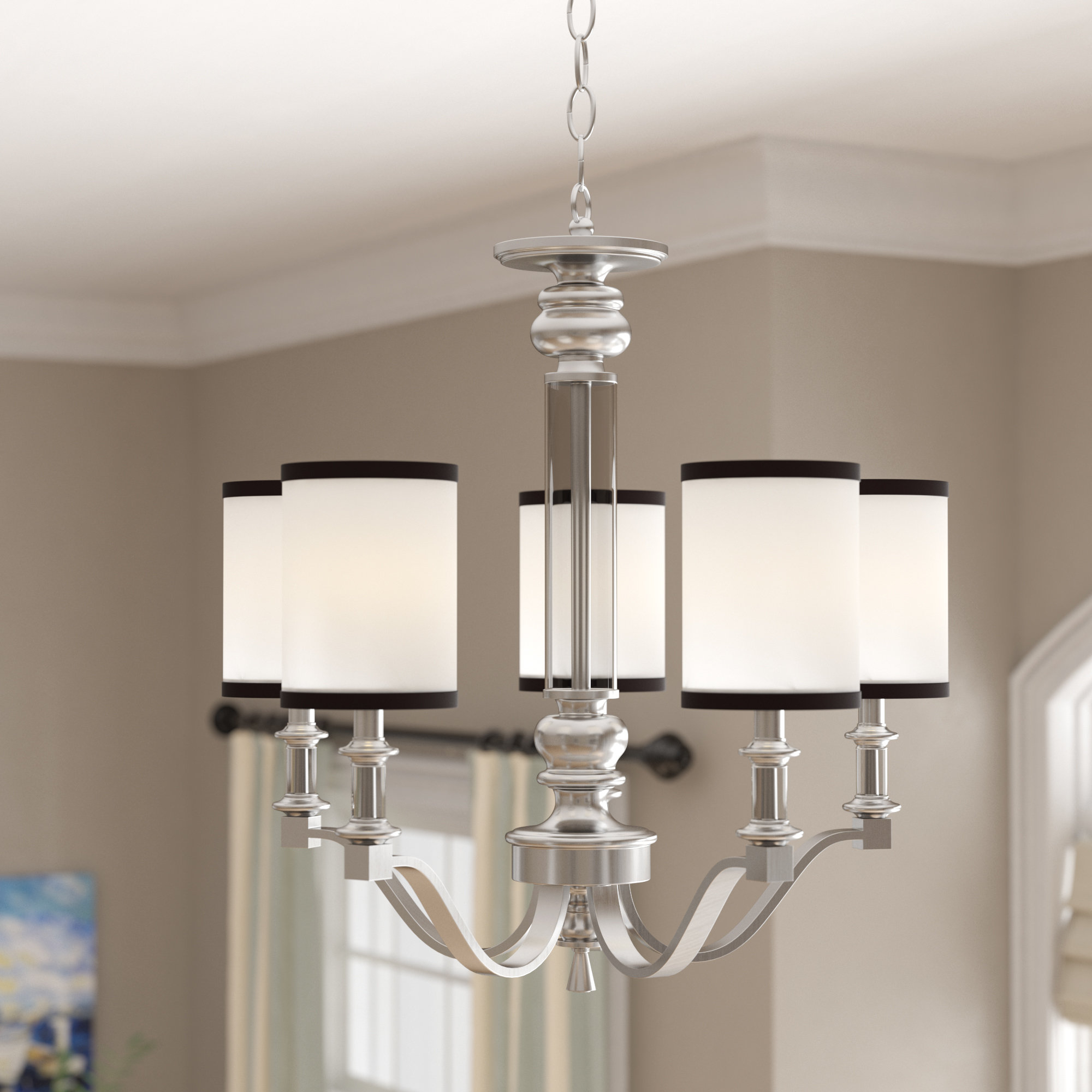 Pfeffer 5 Light Shaded Chandelier With Regard To Fashionable Suki 5 Light Shaded Chandeliers (View 5 of 25)