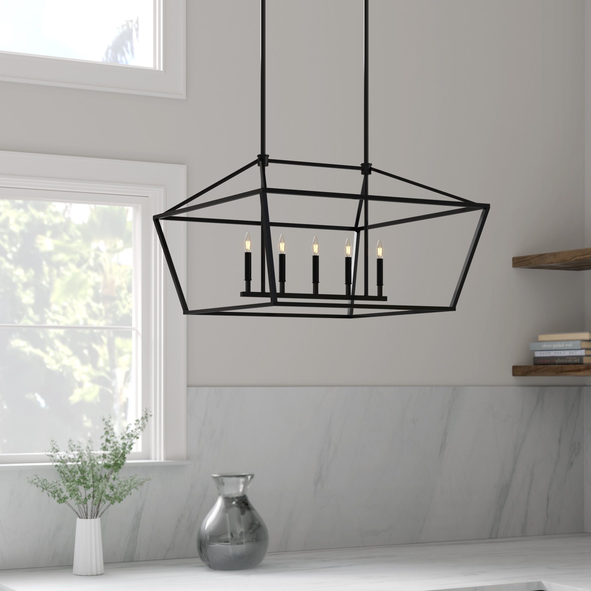 Poisson Indigo 5 Light Kitchen Island Linear Pendant With Regard To Current Odie 8 Light Kitchen Island Square / Rectangle Pendants (View 19 of 25)