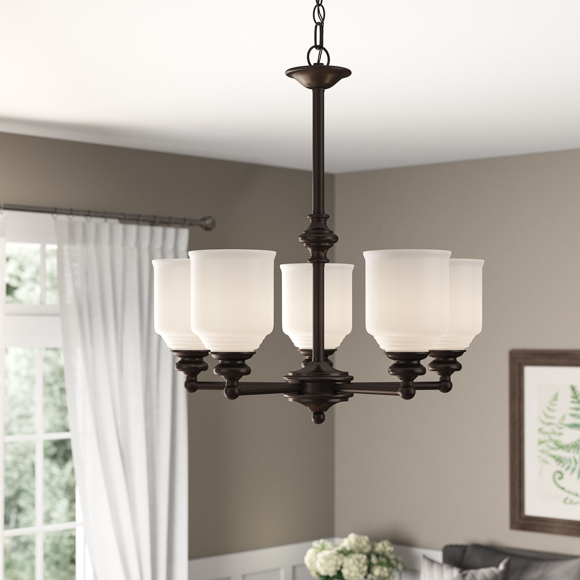 Popular Alayna 4 Light Shaded Chandeliers In Fanshaw 5 Light Shaded Chandelier (View 16 of 25)