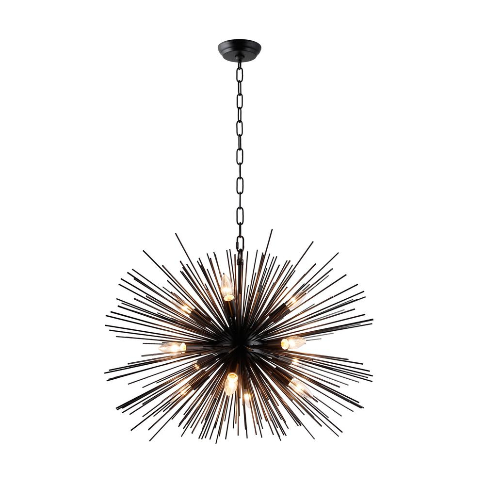Popular Asher 12 Light Sputnik Chandeliers With 12 Light Black Sputnik Chandelier (View 13 of 25)