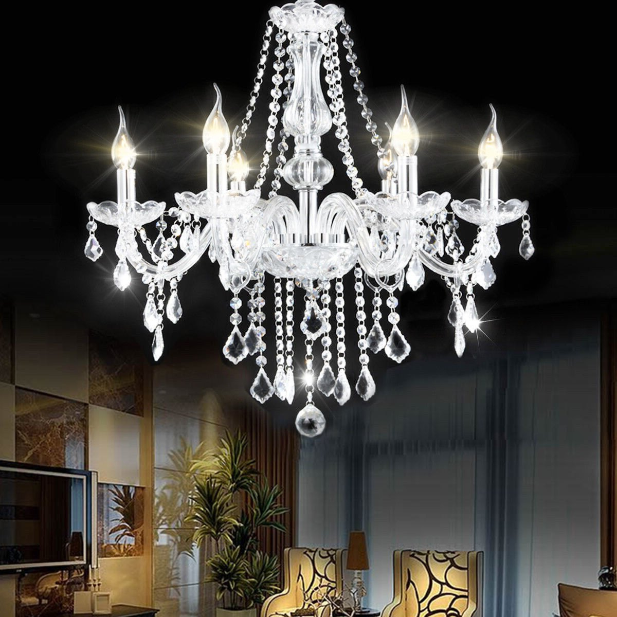 Popular Costway Elegant Crystal Chandelier Modern 6 Ceiling Light Lamp Pendant  Fixture Lighting Pertaining To Dailey 4 Light Drum Chandeliers (View 24 of 25)
