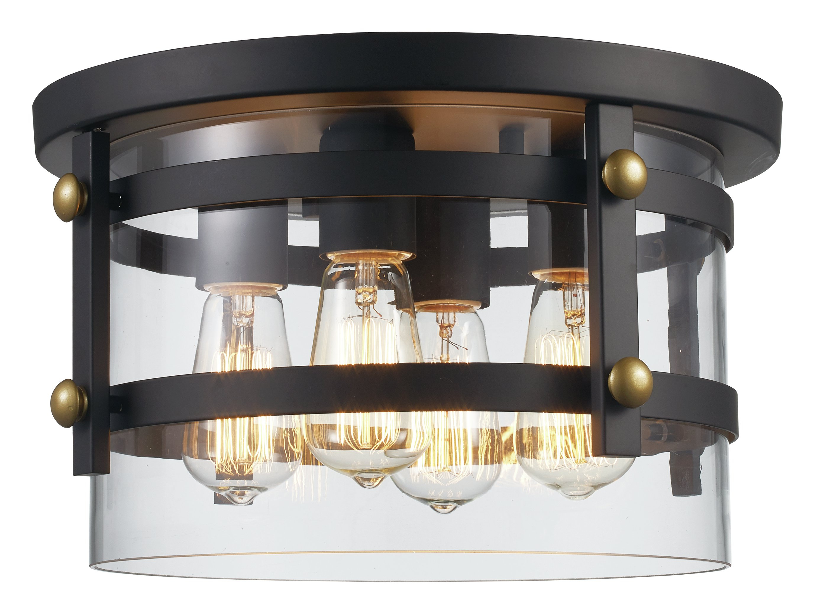 Popular Daniel 4 Light Flush Mount Within Adriana Black 1 Light Single Dome Pendants (View 20 of 25)