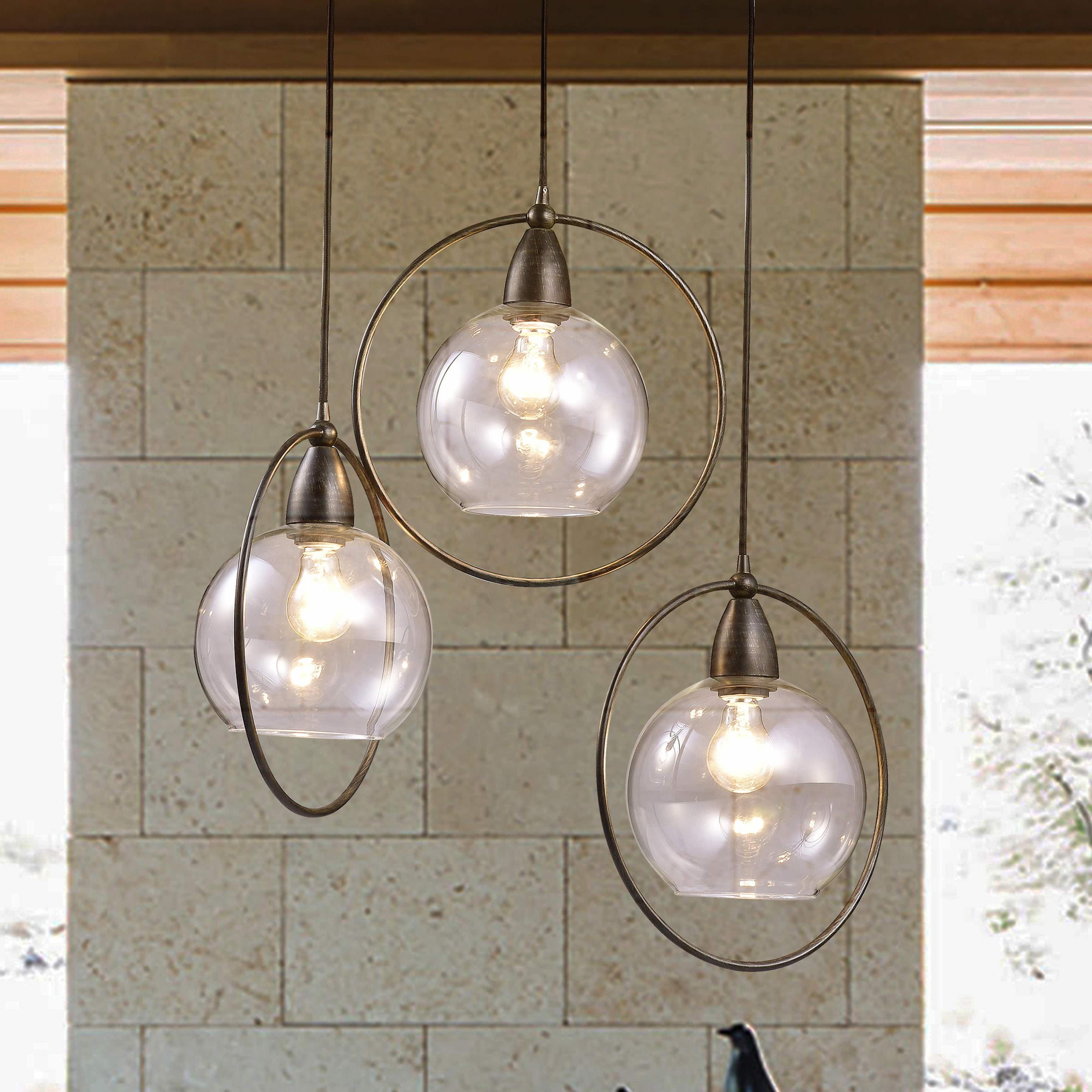 Popular Luna Antique Black 3 Light Globe Iron Loop Pendant For Novogratz Vintage 5 Light Kitchen Island Bulb Pendants (View 20 of 25)