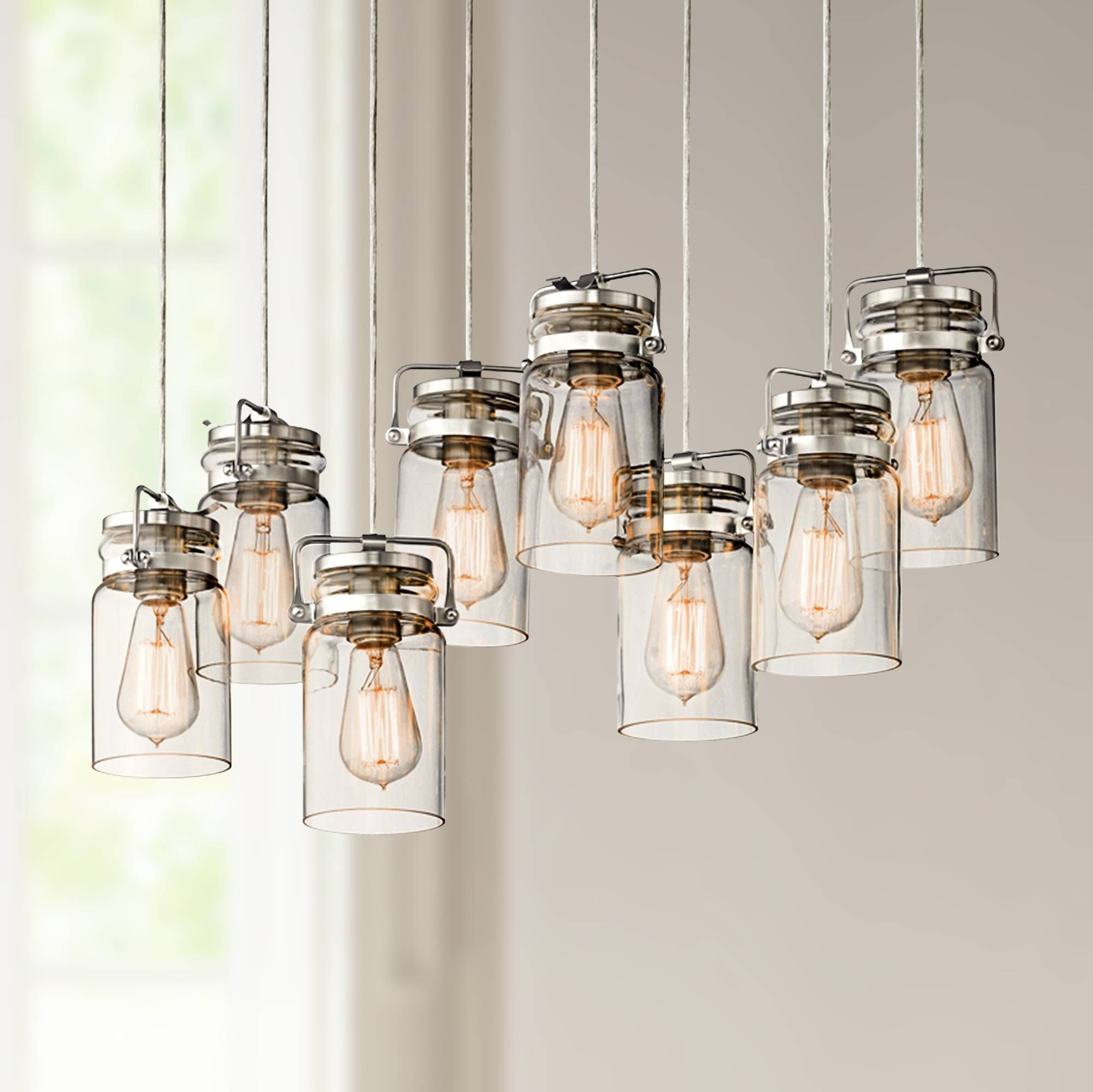 "Popular Sue 1 Light Single Jar Pendants Intended For Kichler Brinley 25 1/2"" Wide Brushed Nickel Mini Pendant (View 12 of 25)"