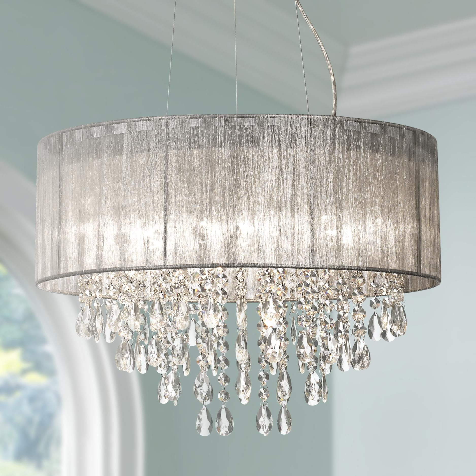 "Possini Euro Jolie 20""w Silver Fabric Crystal Chandelier Within Most Up To Date Abel 5 Light Drum Chandeliers (View 25 of 25)"