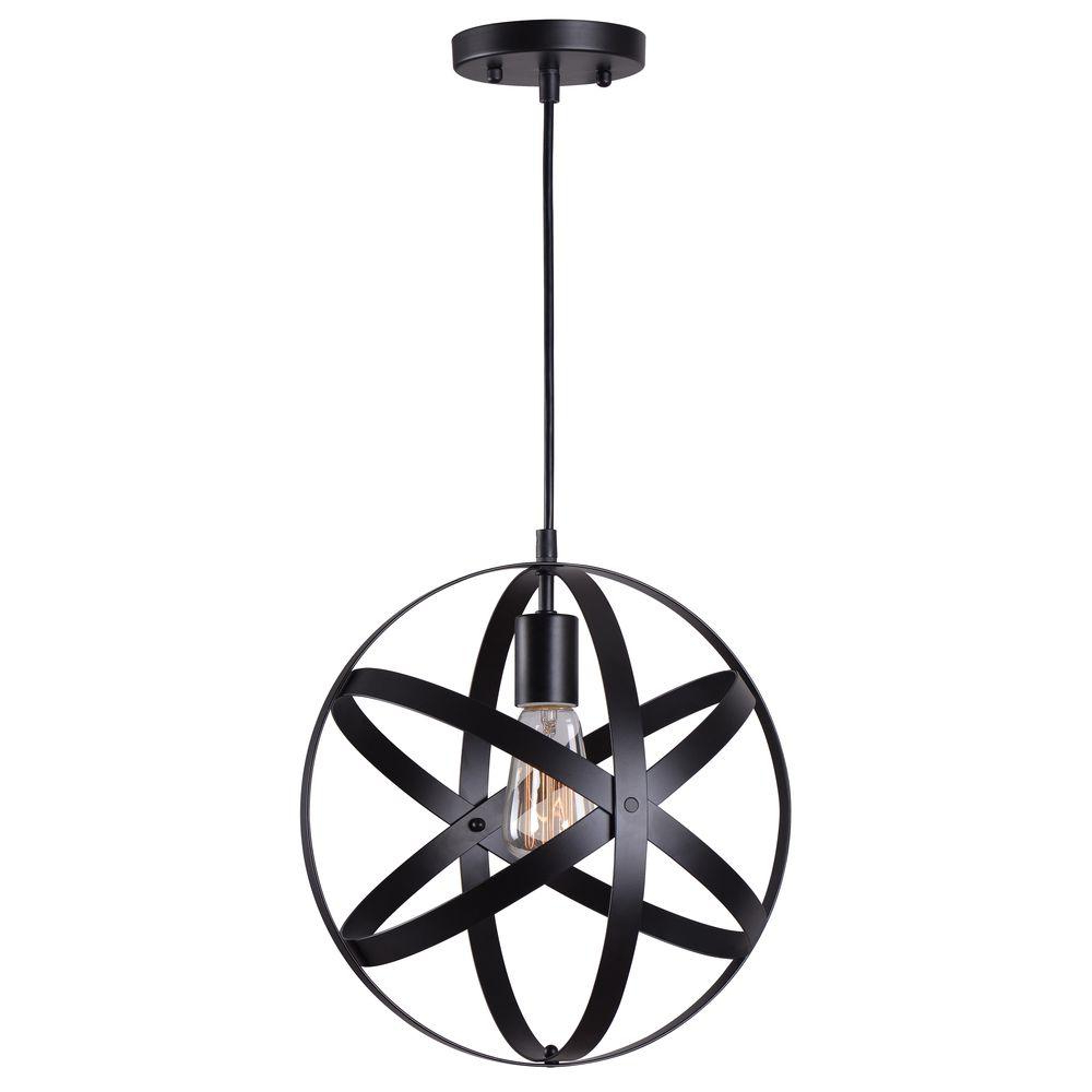Prange 1 Light Single Globe Pendants With Regard To Well Known Home Decorators Collection 1 Light Black Orb Mini Pendant With Black Metal Strap Design (View 21 of 25)