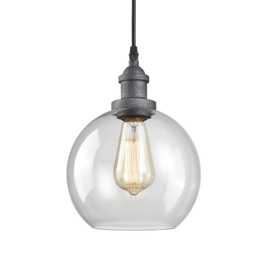Prange 1 Light Single Globe Pendants Within Newest Claxy Rustic Kitchen Island Pendant Lighting Glass Globe Hanging Lights (View 15 of 25)