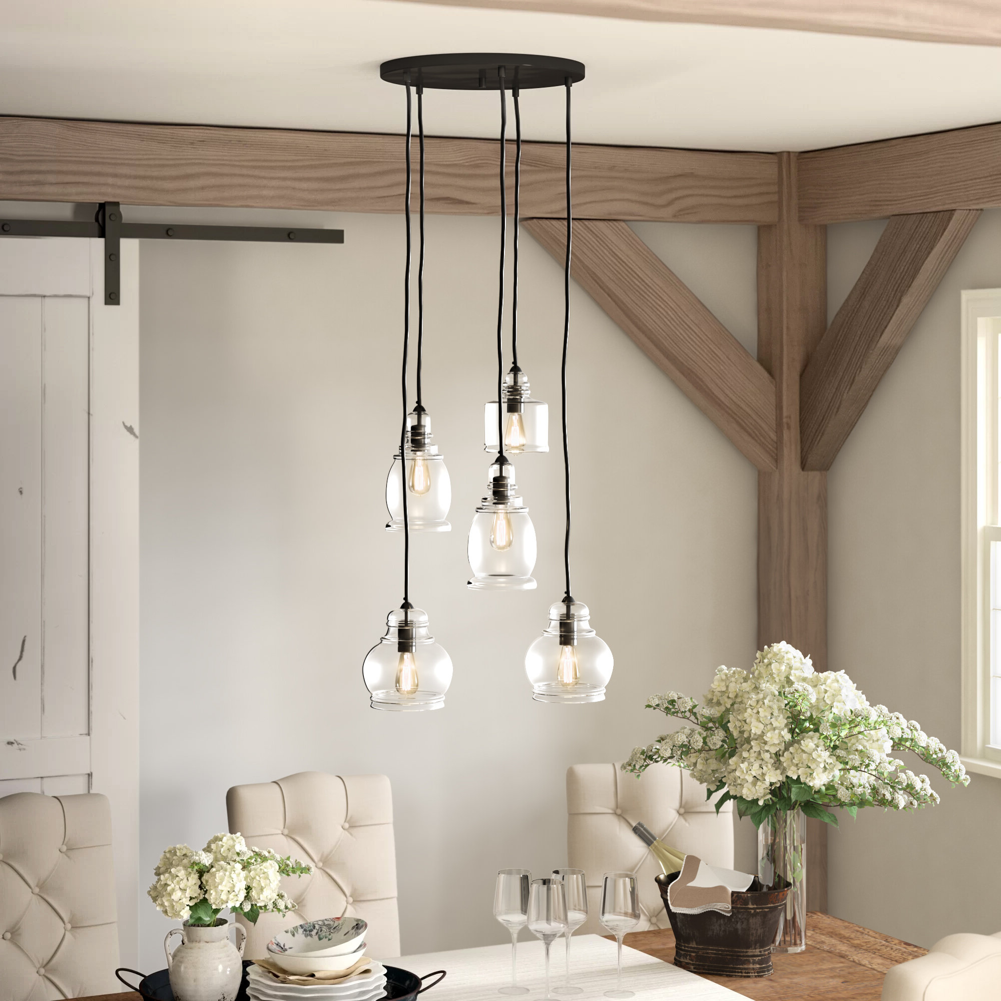 Preferred 5 Light Cluster Bell Pendant Within Emaria 3 Light Single Drum Pendants (View 9 of 25)