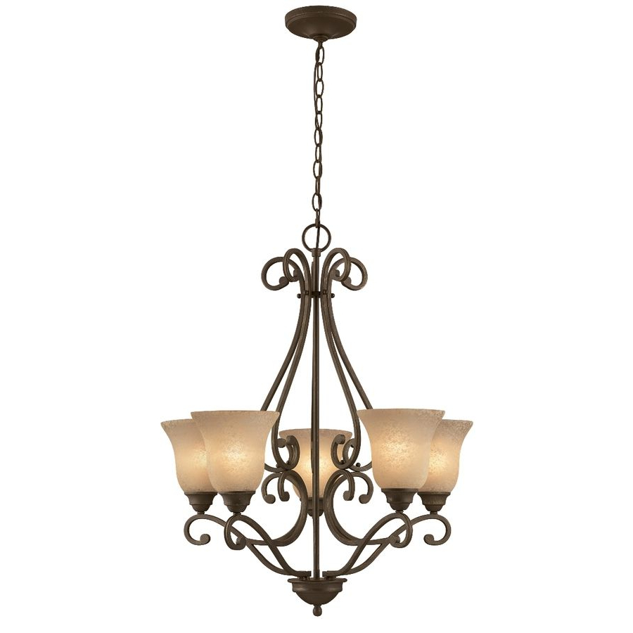 Preferred Crofoot 5 Light Shaded Chandeliers With Regard To Shop Portfolio Linkhorn 5 Light Iron Stone Chandelier At (View 19 of 25)