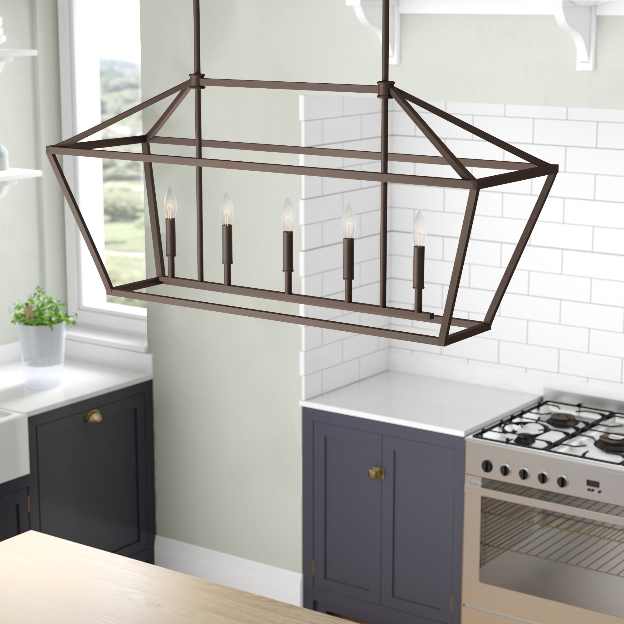 Preferred Laurel Foundry Modern Farmhouse Freemont 5 Light Kitchen Island Linear  Pendant Pertaining To Freemont 5 Light Kitchen Island Linear Chandeliers (View 5 of 25)