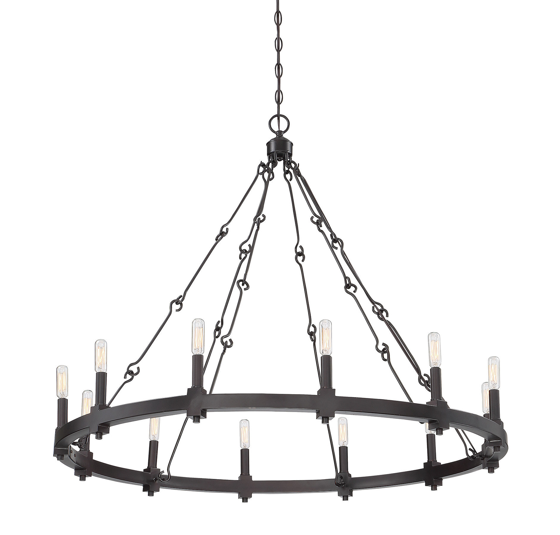 Preferred Shayla 12 Light Wagon Wheel Chandeliers Regarding Montreal 12 Light Wagon Wheel Chandelier (View 13 of 25)