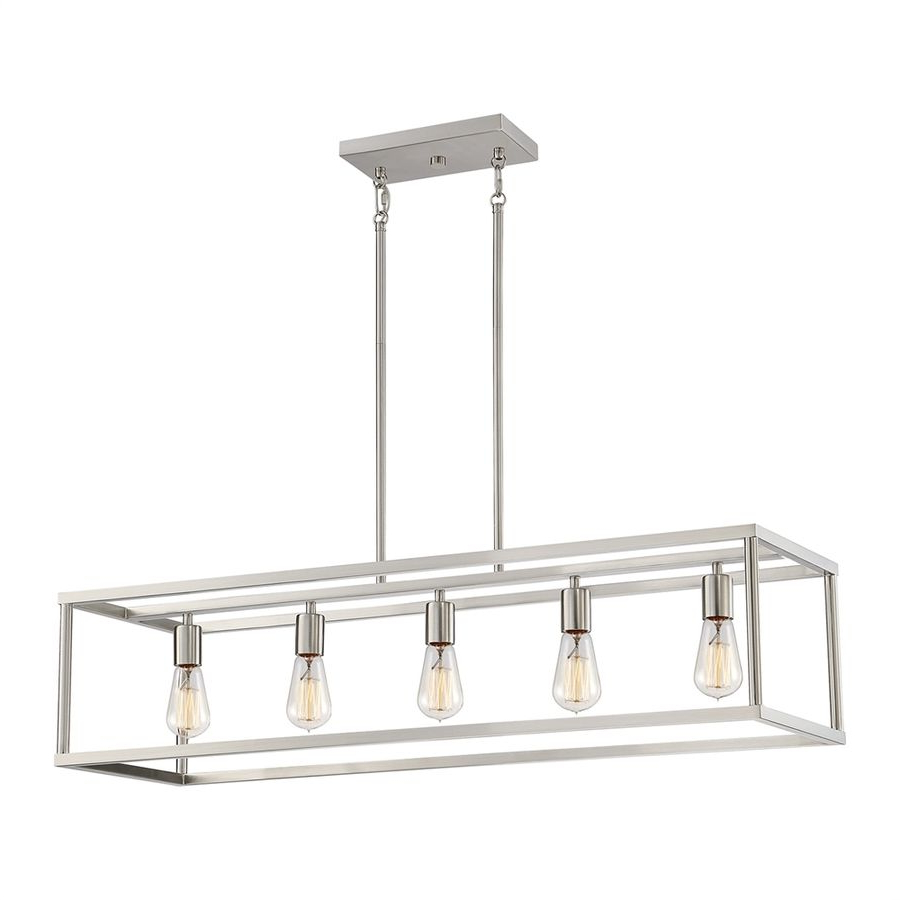 Preferred Thorne 5 Light Kitchen Island Pendants Pertaining To Quoizel New Harbor 38 In W 5 Light Brushed Nickel Kitchen (View 16 of 25)