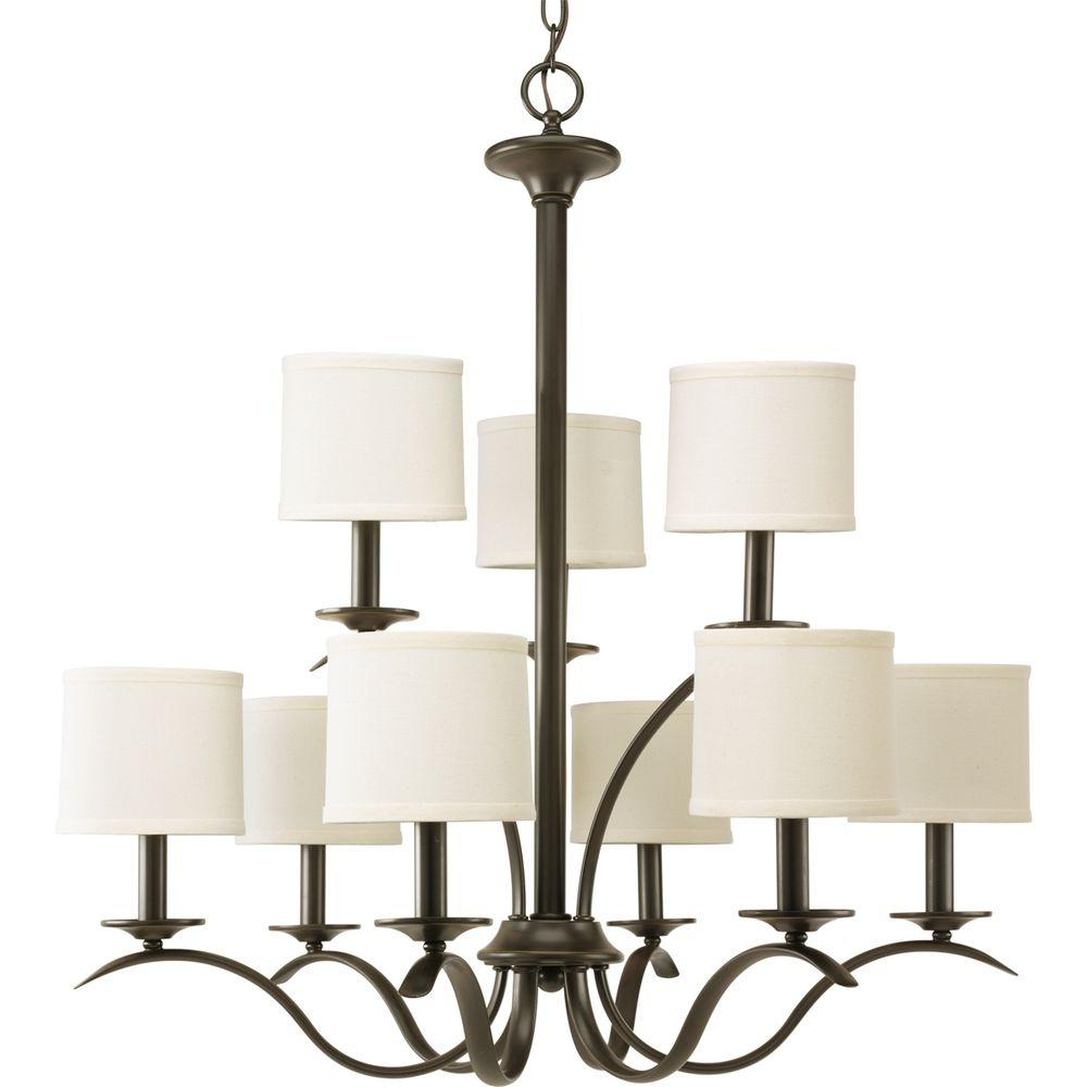 Progress Lighting Inspire Collection 5 Light Brushed Nickel Chandelier With Beige Linen Shade With Best And Newest Crofoot 5 Light Shaded Chandeliers (View 10 of 25)