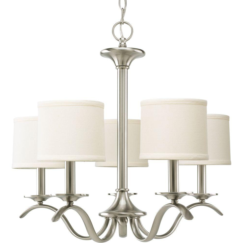 Progress Lighting Inspire Collection 5 Light Brushed Nickel Chandelier With Beige Linen Shade With Most Recent Crofoot 5 Light Shaded Chandeliers (View 5 of 25)