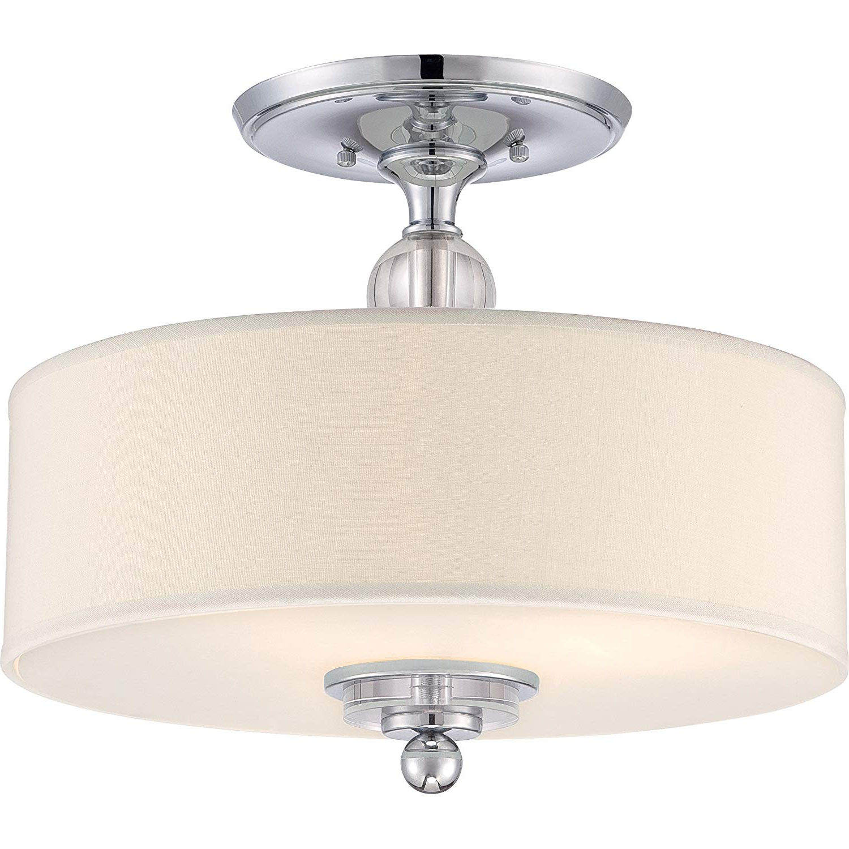 "Quoizel Dw1717C Downtown Semi Flush Ceiling Lighting, 3 Light, 300 Watts, Polished Chrome (14"" H X 17"" W) Regarding Fashionable Emaria 3 Light Single Drum Pendants (View 23 of 25)"