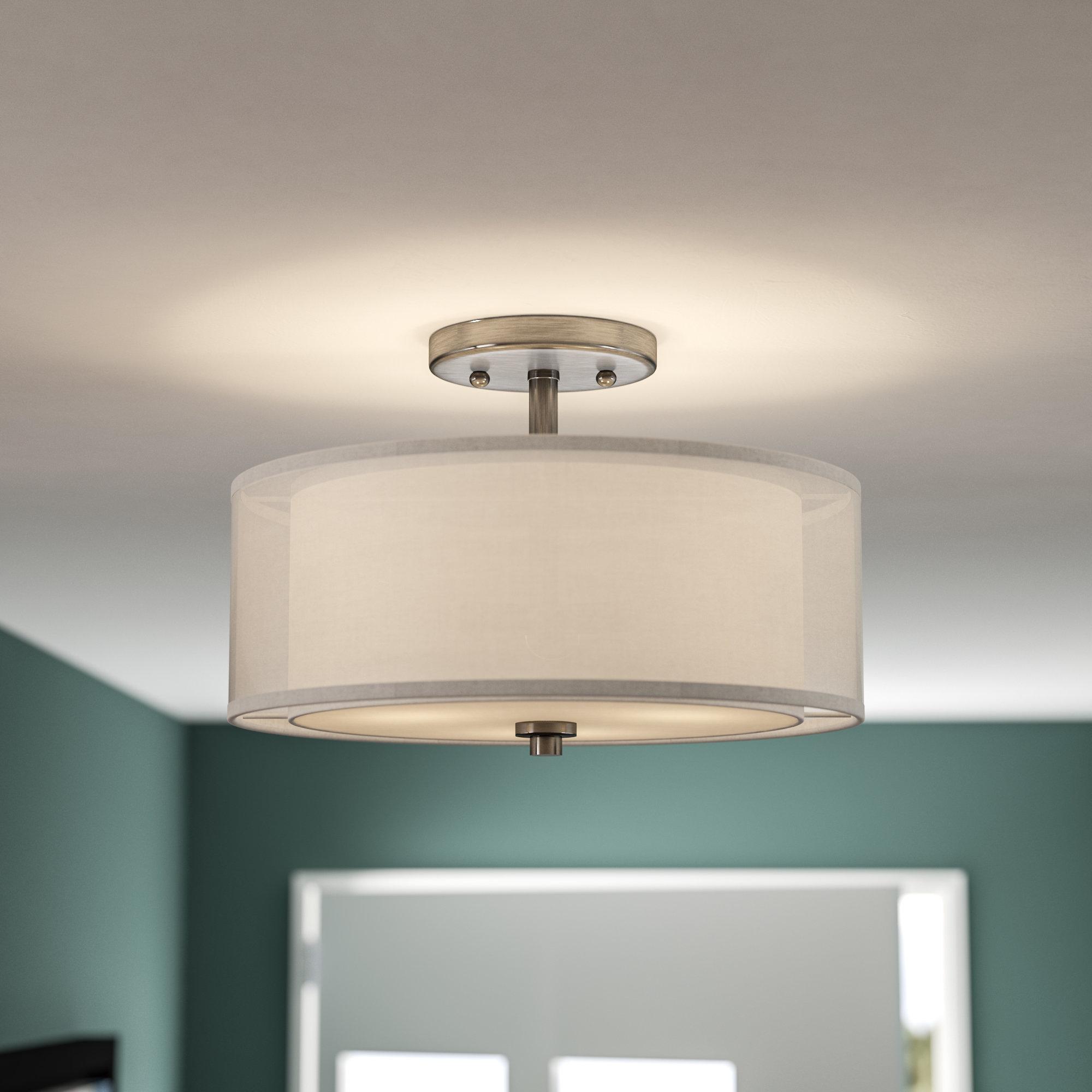 Radtke 3-Light Single Drum Pendants for 2020 Demby 3-Light Semi Flush Mount