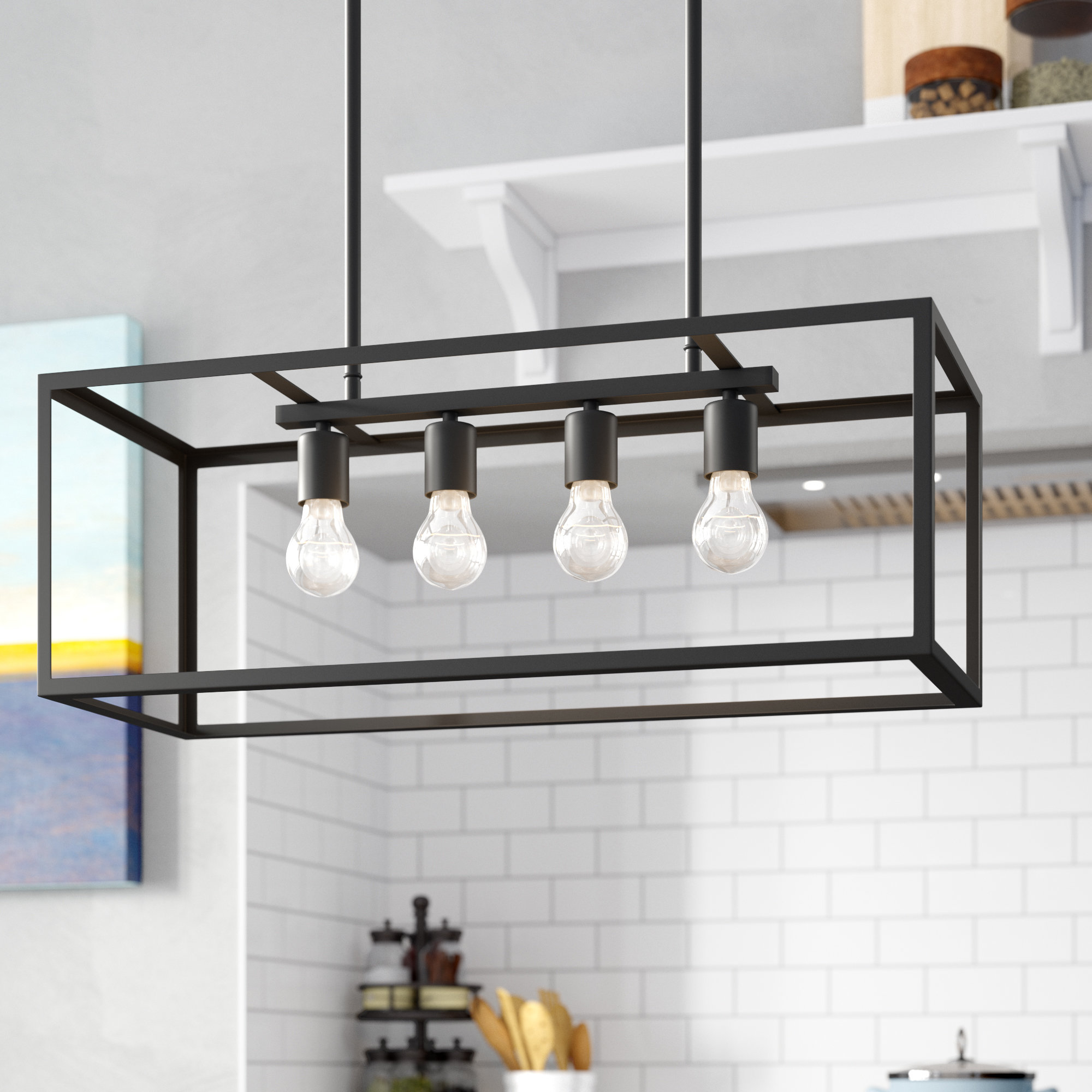 Ratner 4 Light Kitchen Island Linear Pendant For Most Current Jefferson 4 Light Kitchen Island Linear Pendants (View 19 of 25)