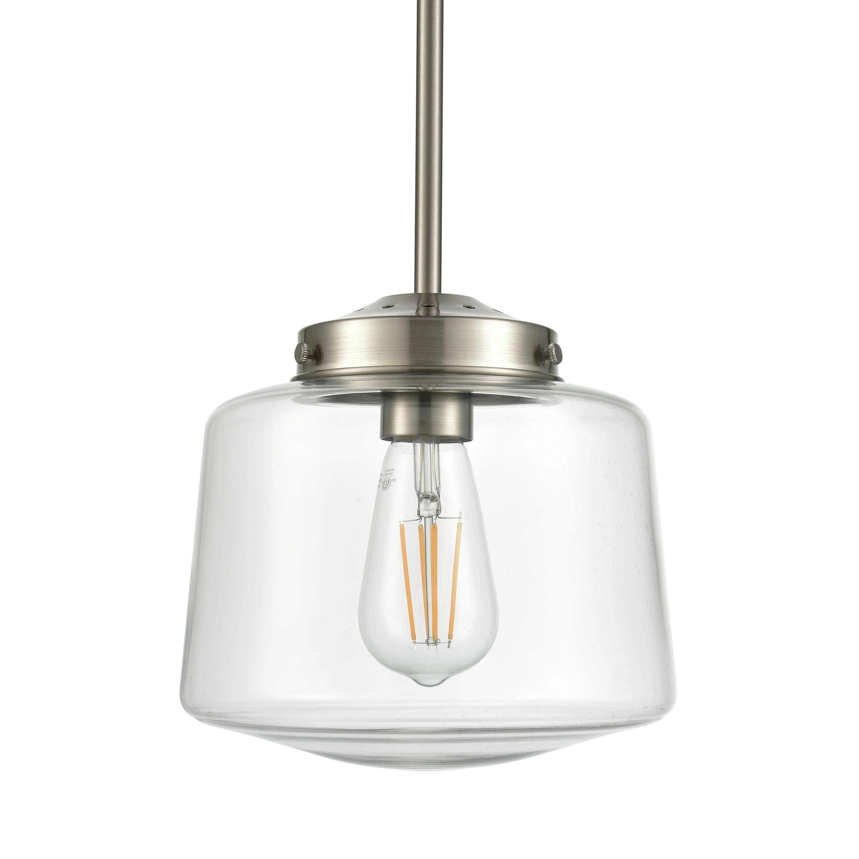 Recent Aaru 1-Light Schoolhouse Pendant for Giacinta 1-Light Single Bell Pendants