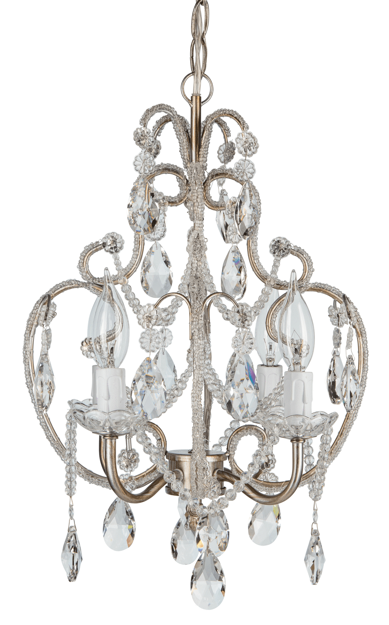 Recent Aldora 4-Light Candle Style Chandeliers inside 4 Light Beaded Crystal Plug-In Chandelier (Silver)