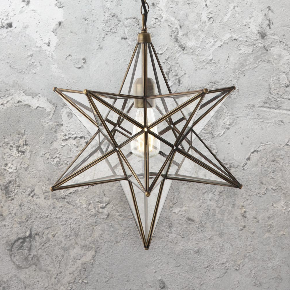 Recent Clear Glass Star Pendant Light Cl-36469 with 1-Light Single Star Pendants