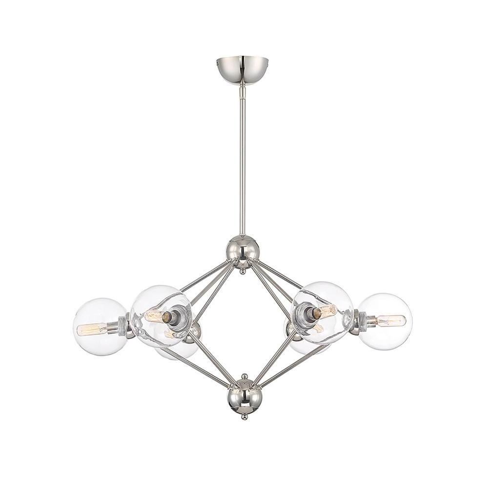 Recent Eladia 6 Light Sputnik Chandeliers Within Filament Design 6 Light Polished Nickel Chandelier In  (View 25 of 25)
