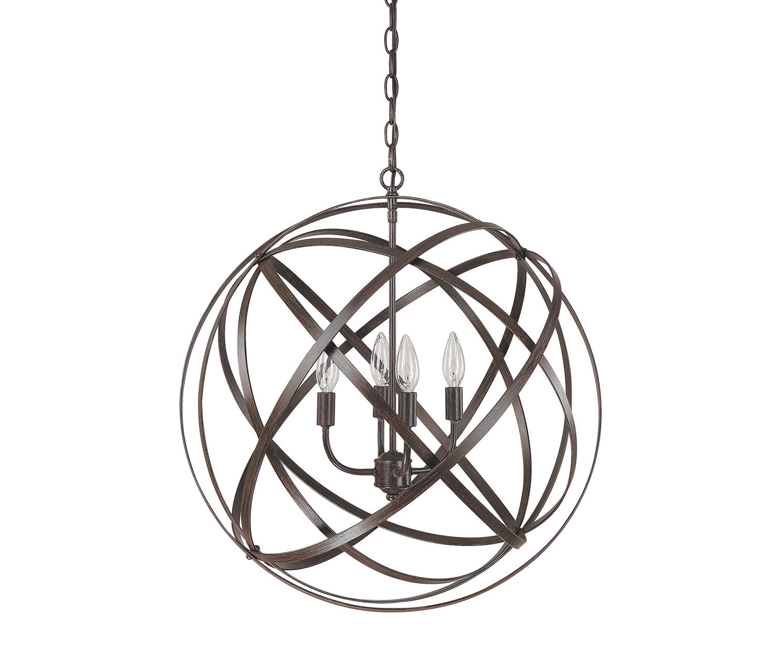 Recent Kierra 4 Light Unique / Statement Chandelier Pertaining To Hendry 4 Light Globe Chandeliers (View 13 of 25)